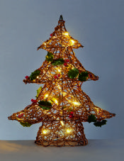 48cm Resin Weave Xmas Tree with lights